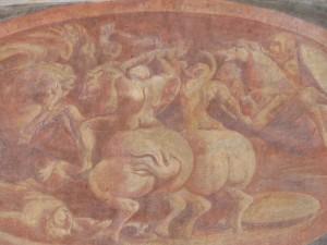 particolare di affreschi di casamento Saluzzo